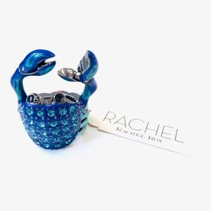 Rachel Roy Blue Enamel Crystal Crab Stretch Ring